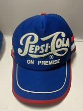 Vintage PEPSI COLA On Premise 3 Stripe Snapback Trucker Hat Cap Red White Blue