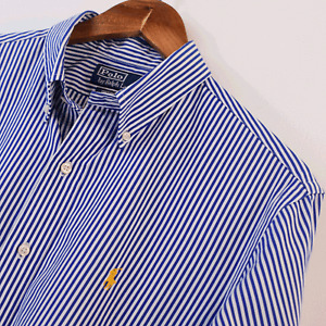Mens Polo Ralph Lauren Blue White Stripe Custom Fit Long Sleeve Shirt L Large