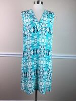 Lavender Brown Womens Dress Sleeveless Shift Gathered Blue Ikat Size L