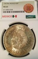 1947 Mo MEXICO SILVER 5 PESOS CUAUHTEMOC NGC MS 63 LOW MINTAGE BETTER DATE TONED