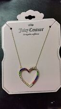 NWT Juicy Couture Multi Color Gold-Tone Open Heart Necklace