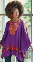 Purple African Embroidered Rayon Caftan Tunic size XL Ashro Abdalla Top