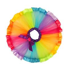 Girls Rainbow Tutu Skirt Multicoloured Kids's Petticoat Underskirt Dress Up M