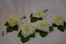 Artificial IVORY Silk Rose with Diamante, Wedding Groom Buttonhole Flower