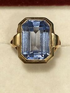 Antik Schmuck Ring 333 Gold Aquamarin