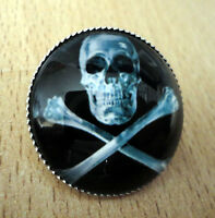ZP01j Unusual Domed Skull and Bones Pin Badge Brooch Cabochon Biker