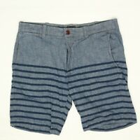 J Crew Mens Stanton Shorts 32 Blue Stripe Shambray Cotton Flat Front Casual