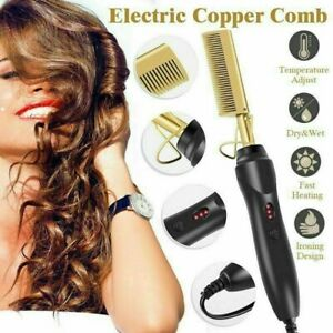 Electric Hot Comb Heating Comb Hair Wig Slayer Straightener Wet Dry Use Styling