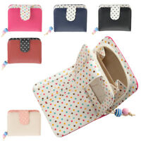 Ladies RFID Blocking Small Faux Leather Polka Dot Purse Zipped Coin Section