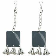 2 Pack Small Animals Bird Parrot Boredom Breaker Mirror With Three Bells