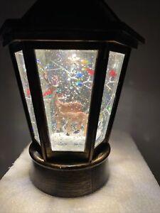 Christmas Snow Globe Water SWIRLING MUSIC Lighted Woodland Deer Cardinal Lantern