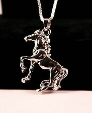 Silver Horse Galloping Pendant Necklace/Chain w/Free Jewelry Box and Shipping