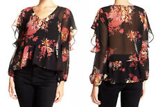 Halogen Chiffon Peplum Party Top XLarge 14 16 Nordstrom Shirt Cold Shoulders NWT