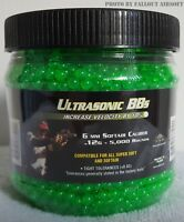 5000 0.12g Airsoft BBs 6mm Ultrasonic Premium Grade High Polished Green Color