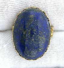 25x18 Natural Lapis Gemstone Gem Cab Cabochon Gold Plated Bezel Pin Brooch