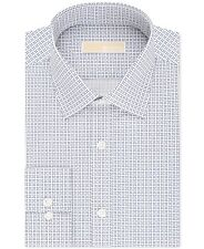 $99 MICHAEL KORS Men REGULAR-FIT WHITE BLUE LONG-SLEEVE DRESS SHIRT 16.5 32/33 L