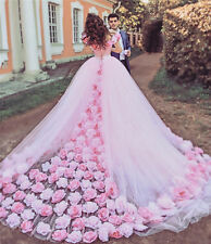 2018 New Pink Off Shoulder Wedding Dresses Lace Up Back Bridal Gown With Flowers