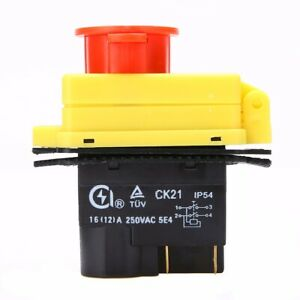 250V 16A Start Stop Switch No Volt Release Switch  Emergency Stop for CK21 Tool