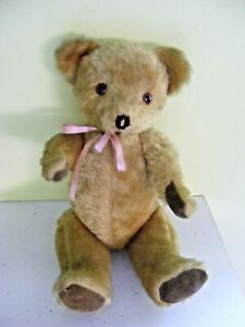 Vintage teddy bear Deans Childsplay golden brown with velvet feet pads pink bow