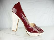 COLE HAAN AIR Womens Red Burgandy Patent Leather Open Toe Sandals Block Heal