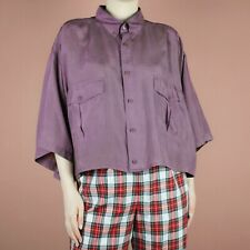 VINTAGE 80s 90s Silk Purple Crop Grunge Womens Retro Shirt Blouse Top L XL