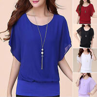 oversized Womens Loose Casual Tops Short Sleeve T Shirt Blouse Ladies Beach Top