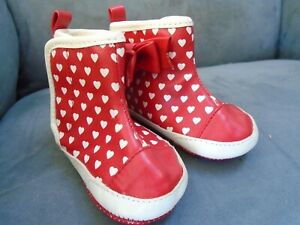 "Mayoral Newborn Red with White Hearts & Bows Rain 4 1/2"" Boots Shoes"