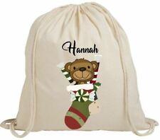 Personalised Christmas Name Festive Stocking Gift Eco-Friendly Drawstring Bag