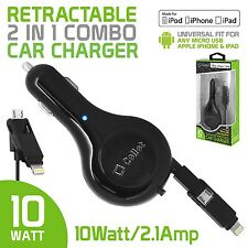 10 Watt Retractable 2-in-1 Micro USB & Lightning Car Charger for Apple iPhone 7