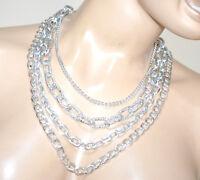 COLLAR largo mujer cadena de plata platino diamante múltiples hilo alambres BB16