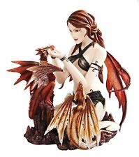 10 Inch Gothic Warrior Fairy with Dual Dragons Statue Figurine