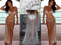Womens Beach Cover Up Pool Party Wrap Glitter Crochet Lace Bikini Holiday Dress