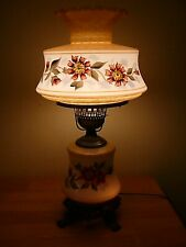Beautiful White Raised Floral Hand Painted 3 Way Vintage GWTW,Parlor Table Lamp