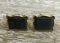 Vintage Swank Slate Colored Gold Tone Cuff Links