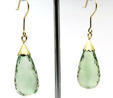 RETIREMENT SALE New 40ct Green Amethyst Earrings Briolette Drop Dangle 9ct Gold