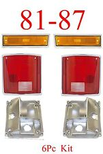 81 87 Chevy 6PC Tail Light With Bases & Front Side Amber Light Kit Truck Blazer