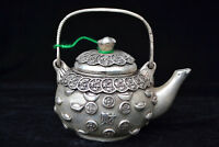 chinese Vintage Collectible Old tibet silver case Handwork coin wealthy Teapot