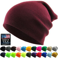 Made in USA - Thick Beanie Skully Slouchy & Cuff Winter Hat Ski Cap