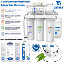 75 Gpd 5Stage ReverseOsmosis Drinking Water Filters System Under Sink Filtration