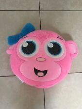 Justice Hot Pink Monkey Sparkly Glitter Blue Ear Bow Stuffed Plush Pillow 15x20""