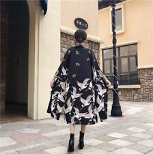 Women Japanese Kimono Coat Loose Yukata Outwear Long Bathrobe Tops Vintage Black