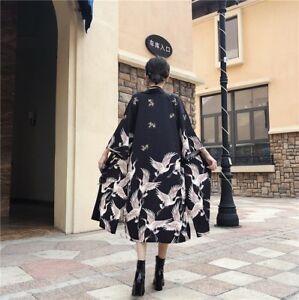 Vintage Lady Japanese Kimono Coat Loose Yata Outwear Long Bathrobe Tops Jacket