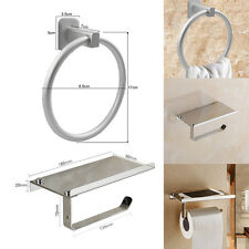 Chrome Square Bathroom Toilet Roll Holder & Towel Ring Set, Fitting Included NEW