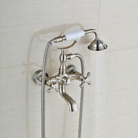 Wall Mounted Tub Filler Bathtub Faucet with Hand Shower Mixer Tap Brushed Nickel
