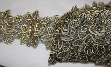 "$1.50 yard black organza embroidered metallic gold sewing trim 2.75"" wide w18"