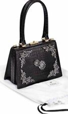 Erdem x H&M Leather Crocodile Embossed Bejewelled Handbag Black BNWT