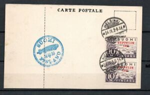 023. FINLAND RARE Zeppelin 1830 Error Pair Used on Card