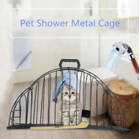 Pet Cat Dog Shower Metal Cage 2 Door Easy Bath Head Dry Move Inject Take Pills