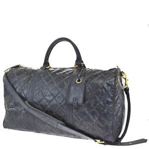 Auth CHANEL CC Matelasse 2Way Travel Shoulder Hand Bag Patent Leather BK 89JC853