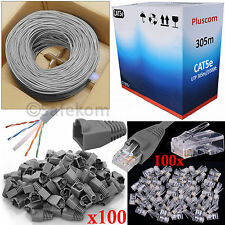 305M RJ45 Cat5e Ethernet Network Cable Roll + 100 Connectors & Boots Network Kit